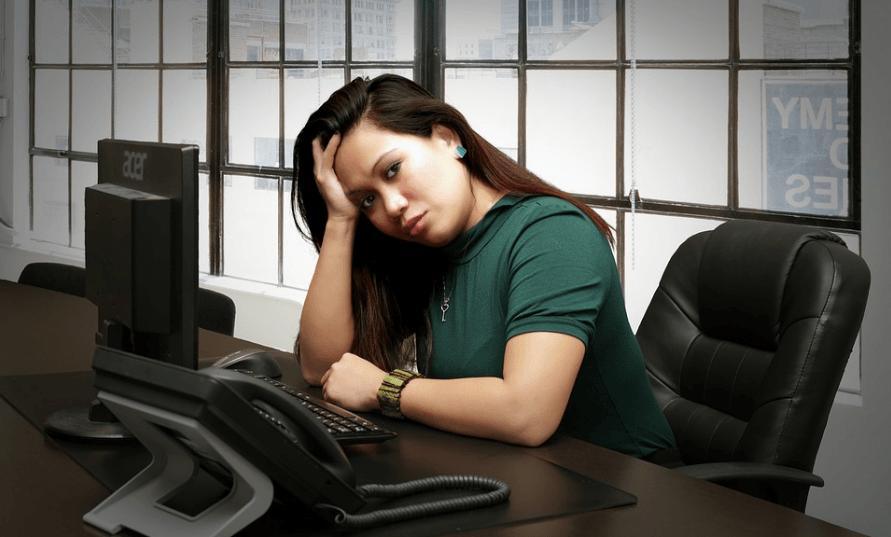 Depressed Asian woman executive